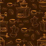 Modello senza cuciture con le tazze di caffè disegnate a mano, fagioli Fotografia Stock