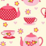 Modello senza cuciture con le tazze ed i vasi di tè Immagini Stock Libere da Diritti