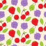 Modello senza cuciture con le uva spina sorridenti sveglie, strawbe di estate Immagine Stock Libera da Diritti