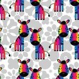 Modello senza cuciture con le zebre dell'arcobaleno Fotografia Stock Libera da Diritti