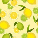 Modello senza cuciture con limetta ed il limone illustrazione vettoriale