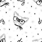 Modello senza cuciture con lo schizzo in bianco e nero di vettore di un cane Illustrazione di vettore Immagini Stock