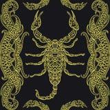 Modello senza cuciture con lo scorpione decorato e gli elementi decorativi calligrafici Ornamento d'annata della copertura royalty illustrazione gratis