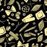 Modello senza cuciture con maccheroni italiani dei generi differenti la mano colorata giallo-chiaro attinge il fondo nero illustrazione vettoriale