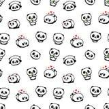 Modello senza cuciture con Panda Asian Bear Vector Illustrations sveglio, raccolta degli elementi semplici di struttura degli ani Fotografia Stock