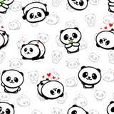 Modello senza cuciture con Panda Asian Bear Vector Illustrations sveglio, raccolta degli elementi semplici di struttura degli ani Immagine Stock