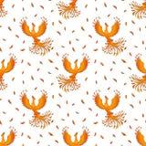 Modello senza cuciture con Phoenix su bianco Fotografie Stock Libere da Diritti