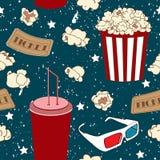 Modello senza cuciture con popcorn, soda e vetri 3D Fondo di film Immagini Stock