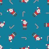 Modello senza cuciture con Santa Claus ed il bastoncino di zucchero Fotografia Stock
