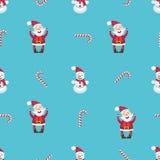 Modello senza cuciture con Santa Claus, il pupazzo di neve ed il bastoncino di zucchero Fotografia Stock Libera da Diritti