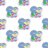 Modello senza cuciture con Santa, gli alci, il regalo ed il buon anno immagini stock libere da diritti