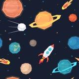 Modello senza cuciture con spazio, i pianeti, i satelliti, le meteoriti ed i missili royalty illustrazione gratis