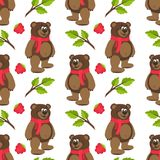 Modello senza cuciture con Teddy Bear in una sciarpa, in un lampone, nei rami e nelle foglie rossi Fotografia Stock
