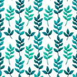 Modello senza cuciture con turchese e le foglie tropicali verdi Modo, interno, avvolgersi, imballare e carte da parati Fotografia Stock