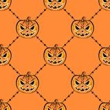 Modello senza cuciture con una zucca Modello di progettazione del partito di Halloween Fotografia Stock