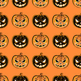 Modello senza cuciture con una zucca Modello di progettazione del partito di Halloween Fotografia Stock Libera da Diritti