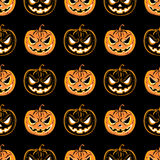 Modello senza cuciture con una zucca Modello di progettazione del partito di Halloween Fotografie Stock Libere da Diritti