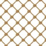 Modello senza cuciture, corda gialla tessuta nella rete da pesca della forma, isolata su bianco Fotografia Stock Libera da Diritti