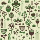 Modello senza cuciture d'annata con i fiori verdi e marroni Fotografia Stock