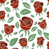 Modello senza cuciture d'annata con le rose rosse su fondo bianco Immagini Stock Libere da Diritti