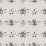 Modello senza cuciture d'annata degli scarabei Royalty Illustrazione gratis