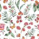 Modello senza cuciture d'annata dell'acquerello con le bacche, i Wildflowers, Blackberry e le farfalle royalty illustrazione gratis