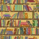 Modello senza cuciture d'annata dello scaffale per libri con i libri Immagini Stock