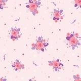 Modello senza cuciture d'annata ditsy delle rose porpora rosa Fotografie Stock Libere da Diritti