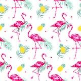 Modello senza cuciture d'avanguardia tropicale con i fenicotteri rosa e foglie di palma Estate, fondo esotico di arte delle Hawai Fotografie Stock Libere da Diritti