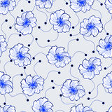 Modello senza cuciture dai fiori blu Immagini Stock Libere da Diritti