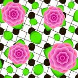 Modello senza cuciture dai fiori e dalle foglie realistici creativi Fotografia Stock
