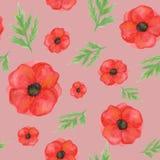 Modello senza cuciture dai papaveri su pallido - fondo rosa Acquerello dipinto a mano per progettazione, tessuti, stampa illustrazione vettoriale