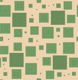 Modello senza cuciture dai quadrati verdi su un fondo beige Per tessuto, carta da imballaggio, tela pastello, EPS10 Fotografia Stock