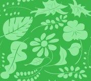 Modello senza cuciture dalle siluette della pianta su fondo verde, per il panno della carta della carta da parati Immagine Stock Libera da Diritti
