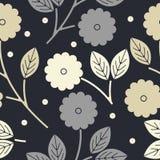 Modello senza cuciture decorativo con i fiori e le foglie illustrazione di stock
