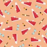 Modello senza cuciture degli accessori delle scarpe delle donne - illustrazione piana di vettore di stile Fotografia Stock Libera da Diritti