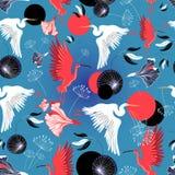 Modello senza cuciture degli aironi e dell'ibis Fotografia Stock Libera da Diritti