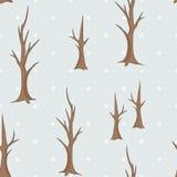 Modello senza cuciture degli alberi nudi di inverno Fotografia Stock Libera da Diritti