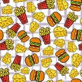 Modello senza cuciture degli alimenti a rapida preparazione Frigge la patata, il formaggio ed il fondo degli hamburger Per il men Fotografia Stock Libera da Diritti
