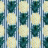 Modello senza cuciture degli ananas dell'acquerello nello stile astratto Progettazione della stampa di estate di modo illustrazione vettoriale