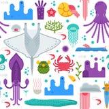 Modello senza cuciture degli animali di mare Immagini Stock