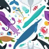 Modello senza cuciture degli animali di mare Fotografie Stock