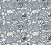 Modello senza cuciture degli animali polari su fondo grigio Immagine Stock