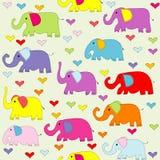 Modello senza cuciture degli elefanti colorato fumetto illustrazione di stock