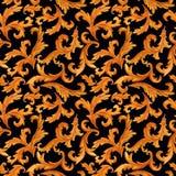 Modello senza cuciture degli elementi dorati di stile barrocco di rococ? isolati su fondo illustrazione vettoriale