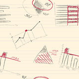 Modello senza cuciture degli elementi infographic disegnati a mano Fotografia Stock