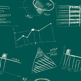 Modello senza cuciture degli elementi infographic disegnati a mano Immagine Stock
