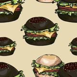 Modello senza cuciture degli hamburger Fotografia Stock