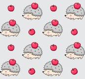 Modello senza cuciture degli istrici appuntiti con le mele rosse royalty illustrazione gratis