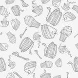 Modello senza cuciture degli oggetti per tè illustrazione vettoriale
